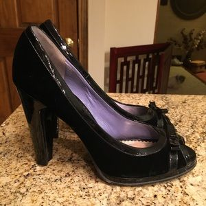 Marc Jacobs Velvet & Patent Leather Heels, fit 8.5